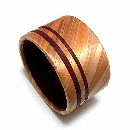 Bracelet en paille de seigle dorée et cuir