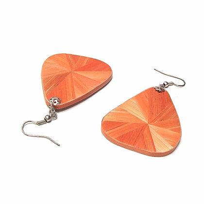 Boucles d'oreilles en marqueterie de paille orange