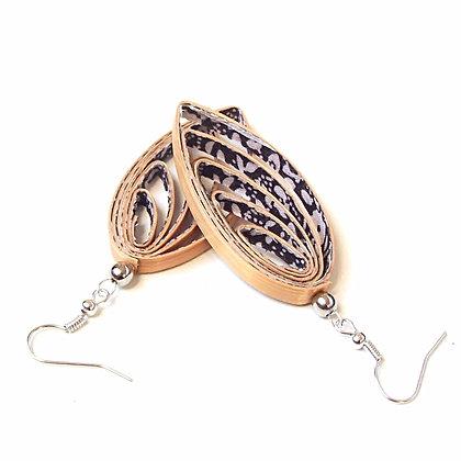 Boucles d'oreilles pendantes en paille de seigle dorée