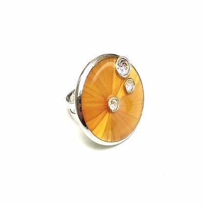 Bague en paille jaune citron et cristal