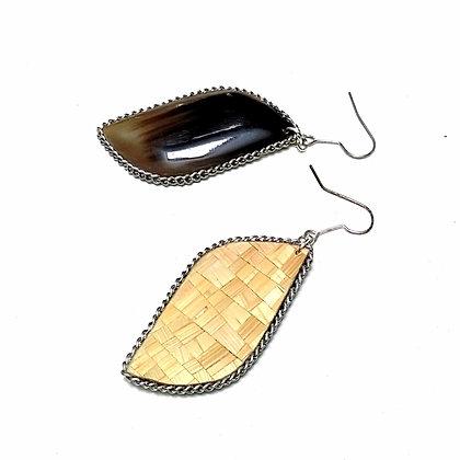 Boucles d'oreilles en corne de Salers et paille