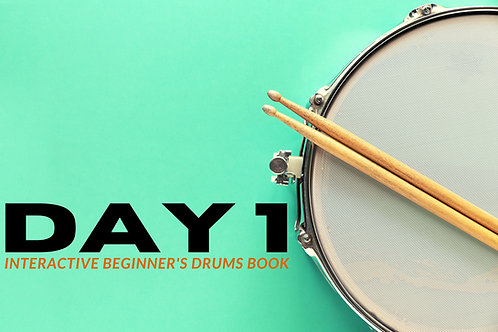 Day 1 Interactive Beginner's Drums Book - 12 month access