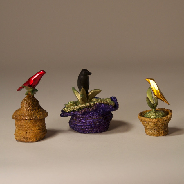 Three Boxes with Birds on Twigs (Alternate View)