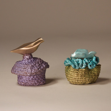 """Fish in the Sea"" Box and Purple Box with Polished Bird - view 2"