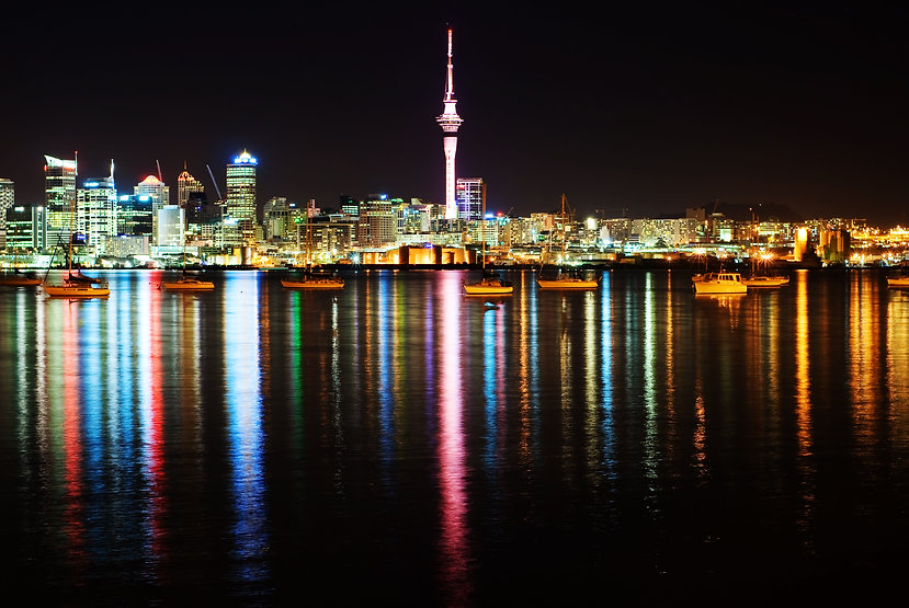 The beautiful Auckland skyline by night.