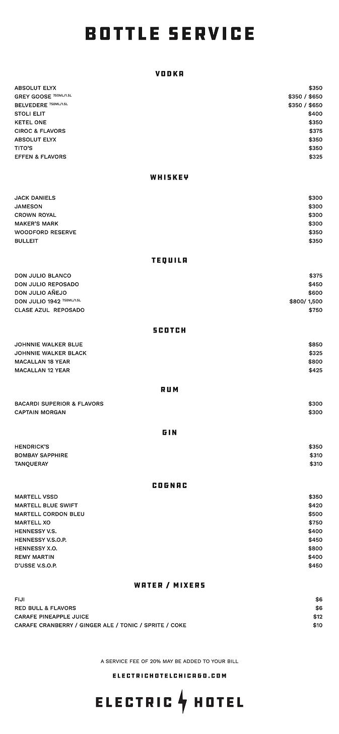 Electric Hotel Bottle Service Menu IMAGE