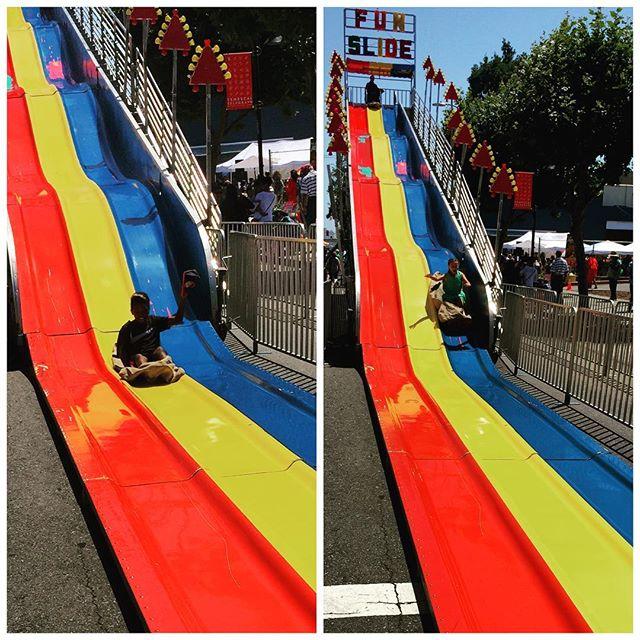 Hats off to the big slide #TemescalStreetFair #BayExplorers #Oakland #CrazyKids #BigSlide #BayArea #ForeverOutside #Crew #PlayAllDay #HaveFu