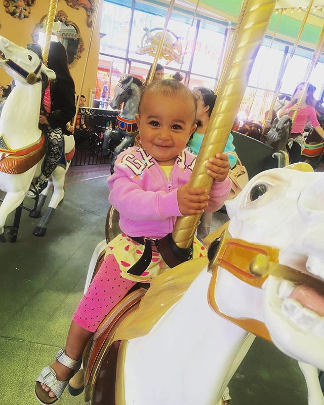 Ayala was so excited to ride the carousel! She kept bouncing on her horse & squealing as it went up & down #BeachBoardwalk #SantaCruz #BayEx