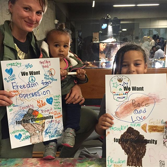 They had BPP Poster making for the kids as well. Each poster said _We want________for our community