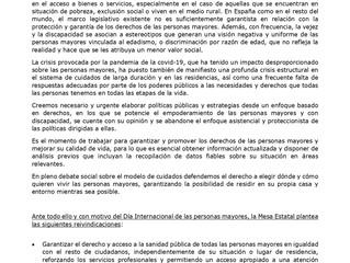 La Mesa Estatal por los Derechos de las Personas Mayores reivindica en su manifiesto una Ley integra