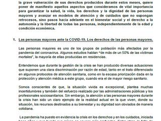 La Mesa Estatal por los Derechos de las Personas Mayores envía al Gobierno sus propuestas para abord