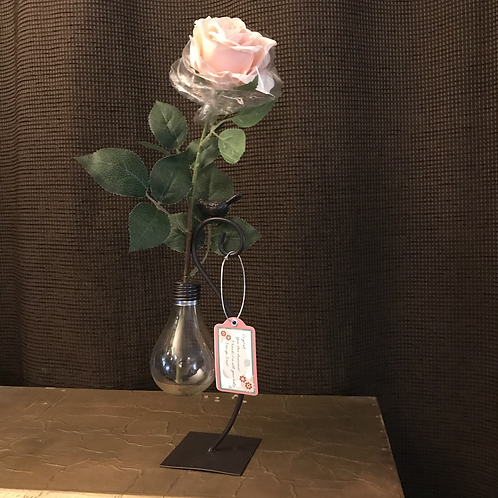 Vase with pink artificial real-touch rose
