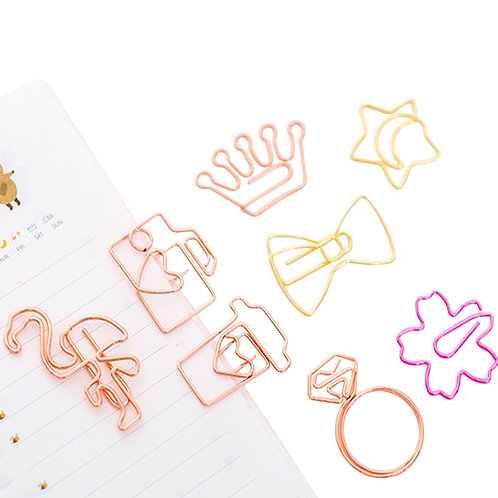 5pcs/Lot Kawaii Rose Gold Paper Clips Bookmark Metal Binder Paper Clip Bookmark