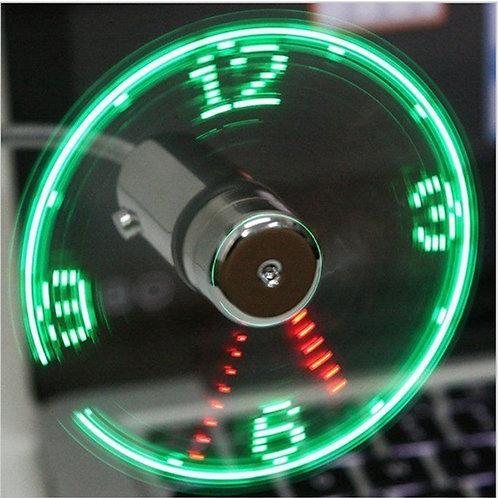 Hand Mini USB Fan Portable Gadgets Flexible Gooseneck LED Clock Cool for Laptop