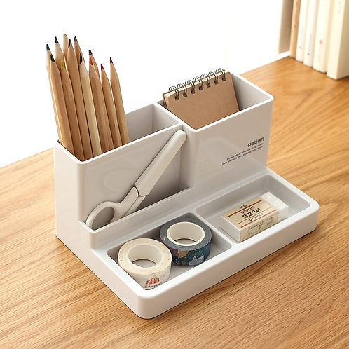 Deli Home Office Multifunction Pen Holder Stationary Storage Box