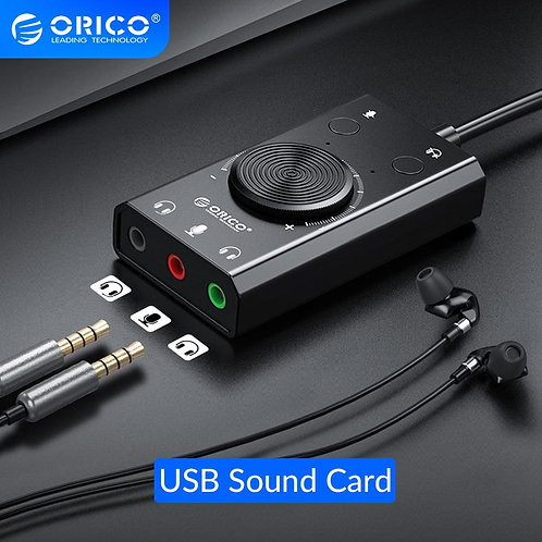 ORICO Portable USB External Sound Card Microphone Earphone Two in One With 3 Por
