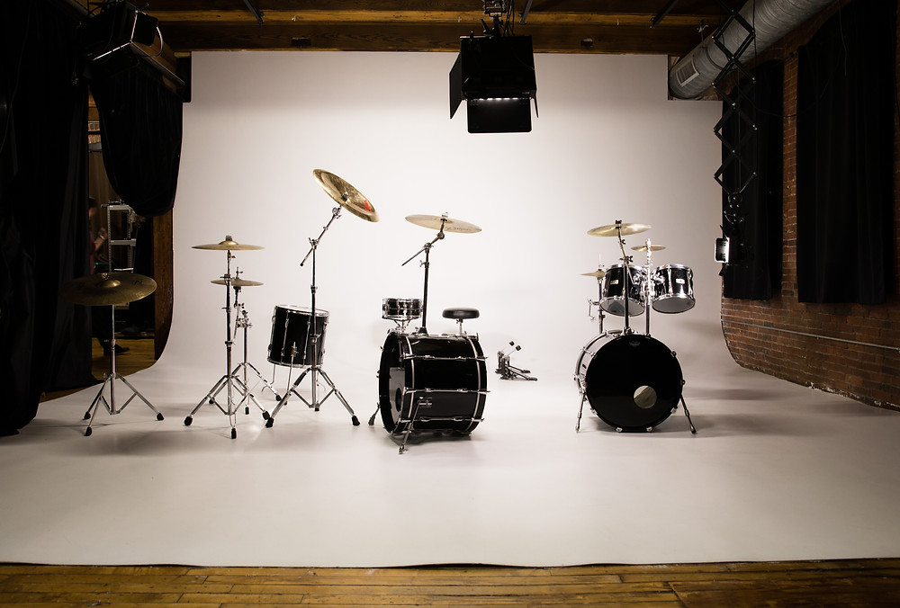 Drums Set-up at LensLockers Studio Photography and Video Studio Rental in Boston