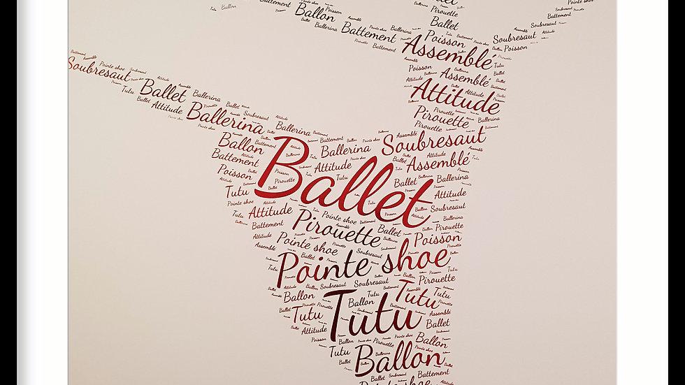 Ballet word art in foil