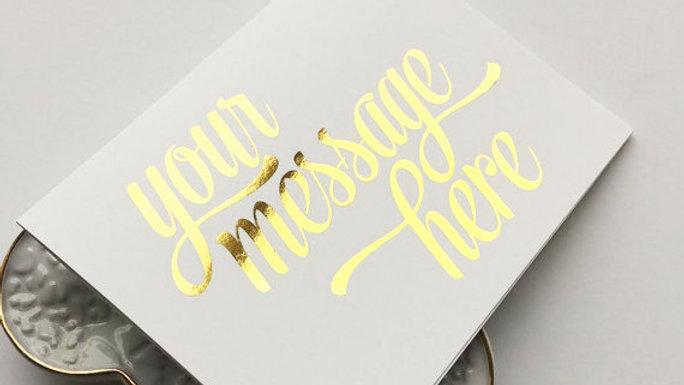 Personalised foiled greetings card