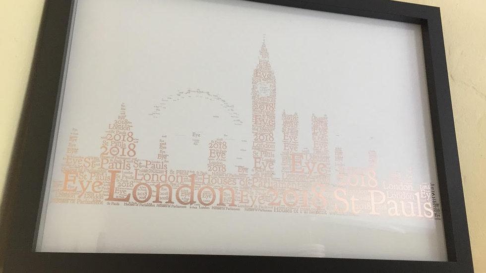 London skyline word art in foil print