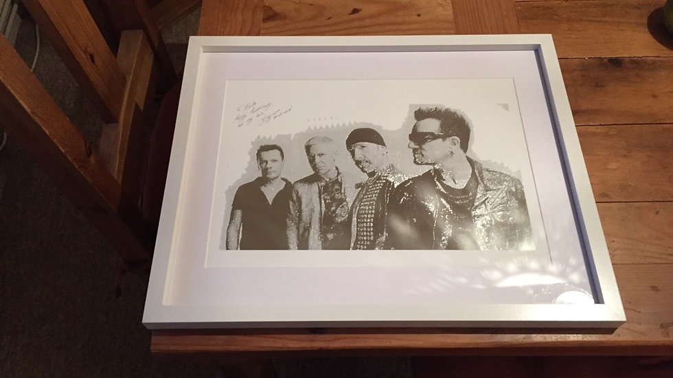 U2 silver foiled stunning picture A3 in a 400x500 frame