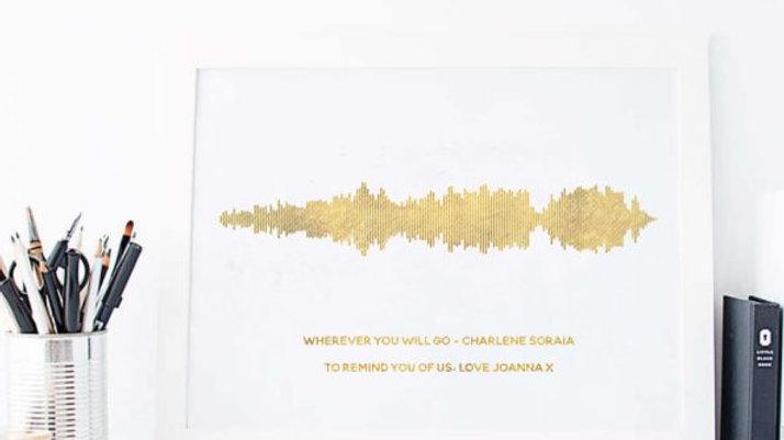 Foiled Sound wave print in frame