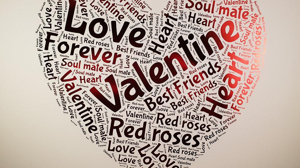 Heart shaped word art in foil