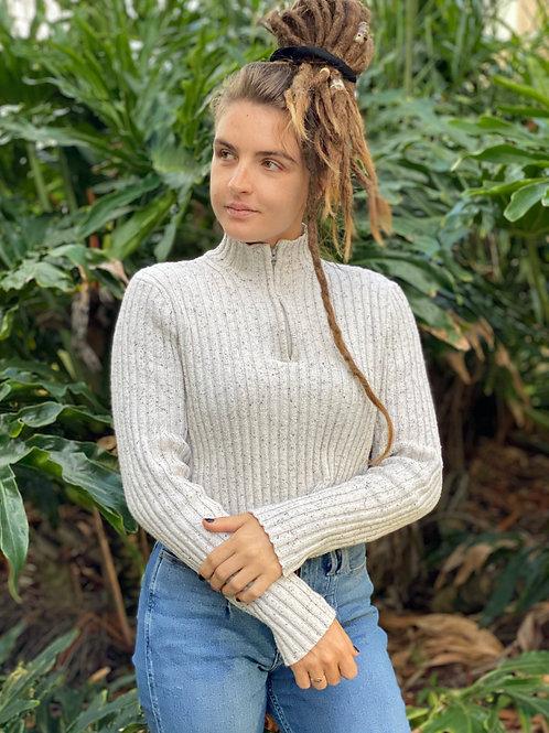 Quarter-Zip Cropped Sweater