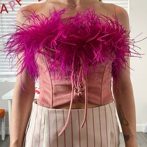Feather Faux Corset Top