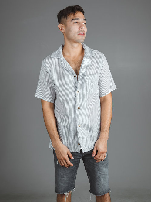 Striped Short Sleeve Button-Up