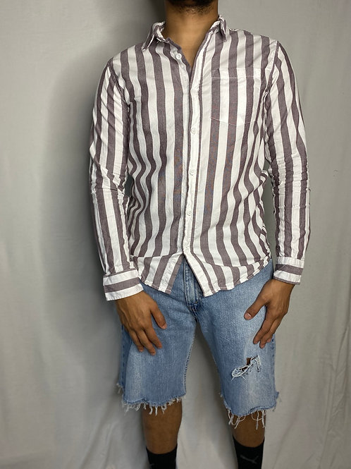 Pre-loved Men's Long Sleeve Striped Collard Shirt