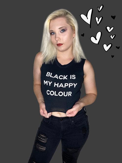 Black Is My Happy Colour Crop Top