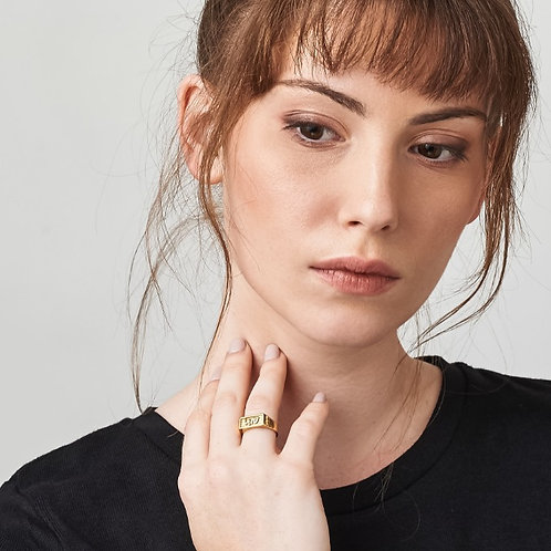 טבעת חותם זהב | שקט