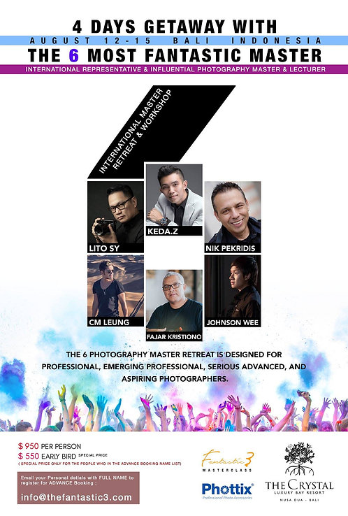 Bali Indonesia 4 days workshop Aug 12-15, 2018