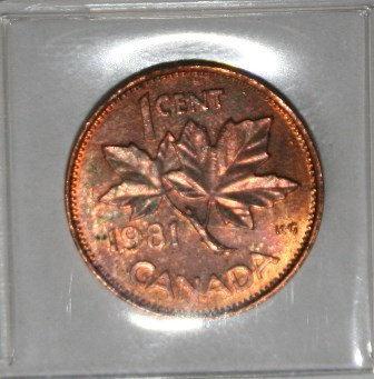 Canadian 1981 Copper One Cent Penny