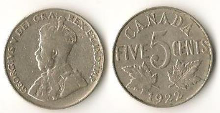 Canada 1922 Nickels