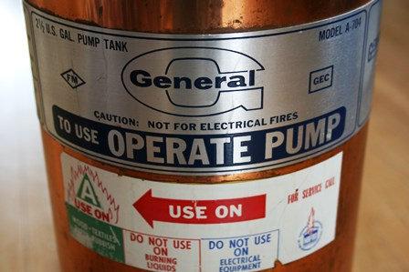 Vintage Fire Extinguisher General  A 704