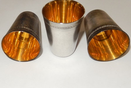 Silver & Gold Plated Shot Glasses (Set of 3)