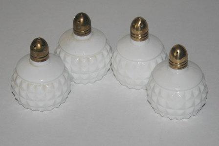 White Milk Glass Waffle Block S/P Shakers
