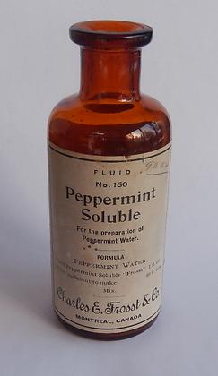 Peppermint Oil Vintage Amber Glass Cork Bottle