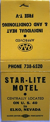 Vintage Elko Nevada Star-Lite Motel Matchbook