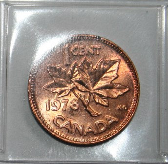 1978 One  Cent Canada Copper  Penny
