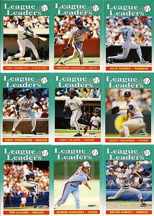 1992 Fleer 'League Leaders' (Set of 9)