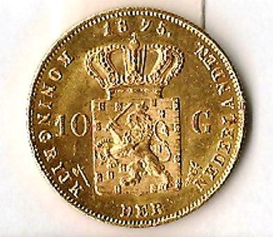 NETHERLANDS 10 GOLD GULDEN 1875
