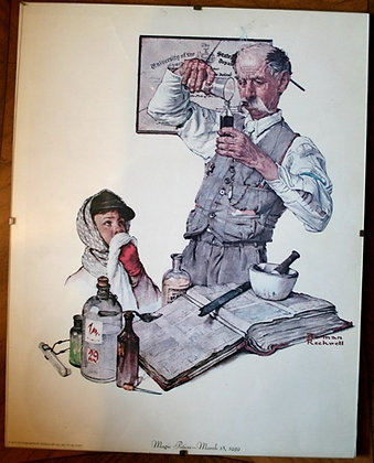 """Norman Rockwell """"Magic Potion"""" Print in Glass"""