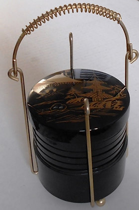 Vintage Black Oriental Plastic Coasters