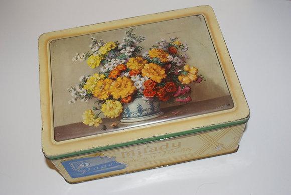 Milady Tin Box Yellow Floral