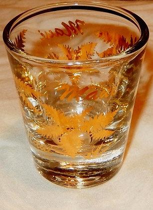 Shot Glass Maui Gold Fern Leaf