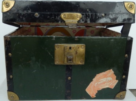 Vintage Small Green Metal Riveted Travel Trunk