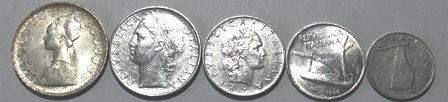 Vintage Italiana Republic Coins Lot (5)